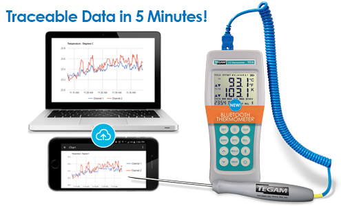 Traceable Data and easy temperature readings with data loggers by TEGAM featuring temperature probes.